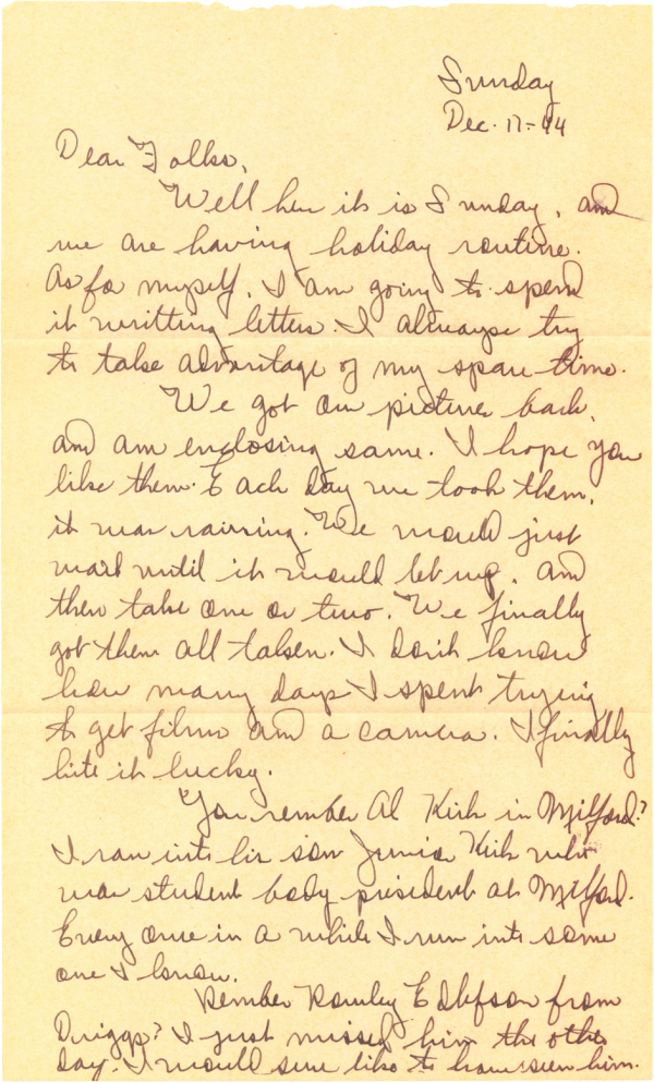 Letter home (page 1); December 17, 1944