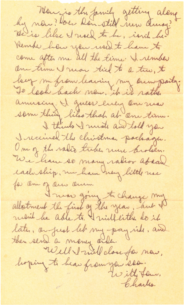 Letter home (page 2); December 17, 1944