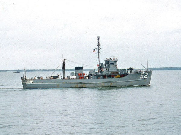 AMS-52 (YMS-299/Rhea), copyright Stan Cochran, August 1955, MSC(O)-52 at Mine Warfare School, Yorktown, VA