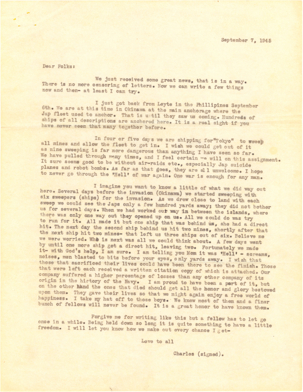September 7, 1945; Letter to Home, from Chuck