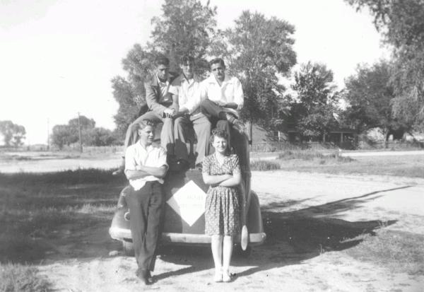 (top row) John, Eugene and CDP; (bottom row) Charlie and Barbara; 1943, Los Angeles, California