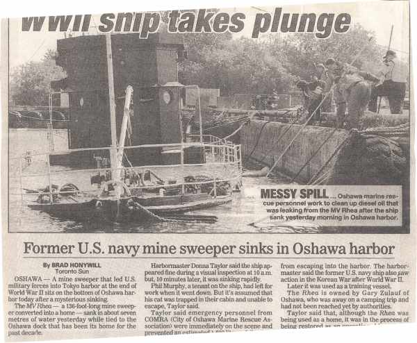 WWII Ship Takes Plunge; Toronto Sun, October 11, 1997