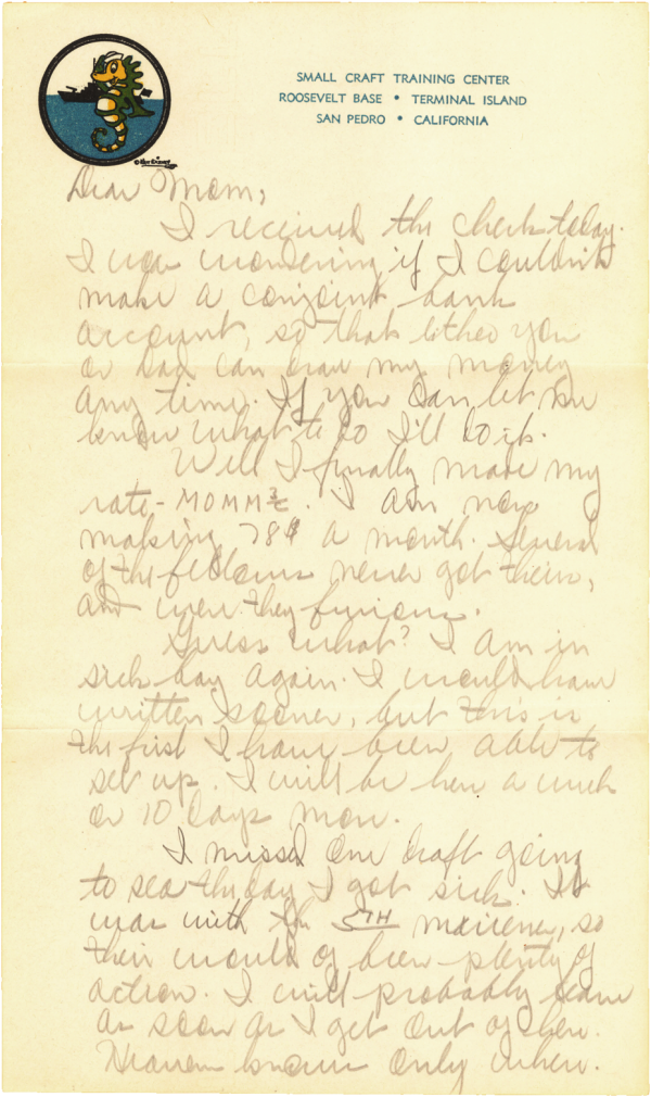 CDP letter home; Around the 1st of May, 1944 in San Pedro, CA