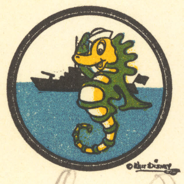 Naval seahorse detail from Disney stationery
