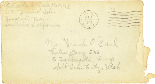 Letter home, envelope; May 8, 1944