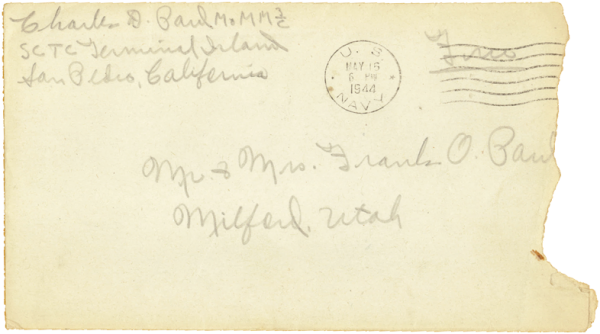 Letter home, envelope; May 16, 1944