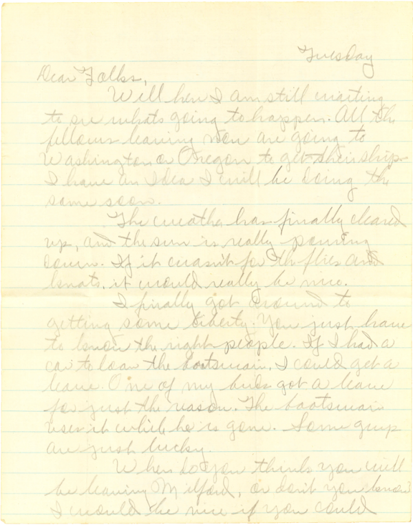 Letter home, page 1; May 16, 1944