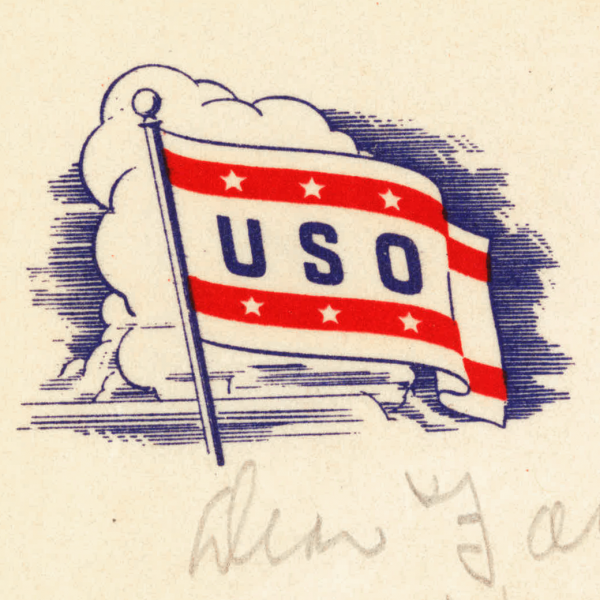 USO flag illustration detail from stationery