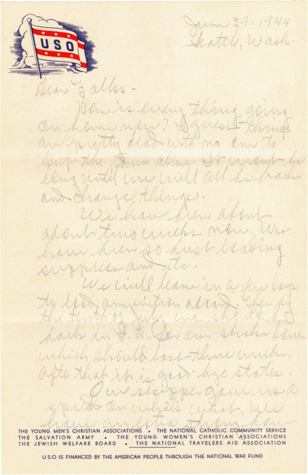 Letter home, page 1; June 29, 1944