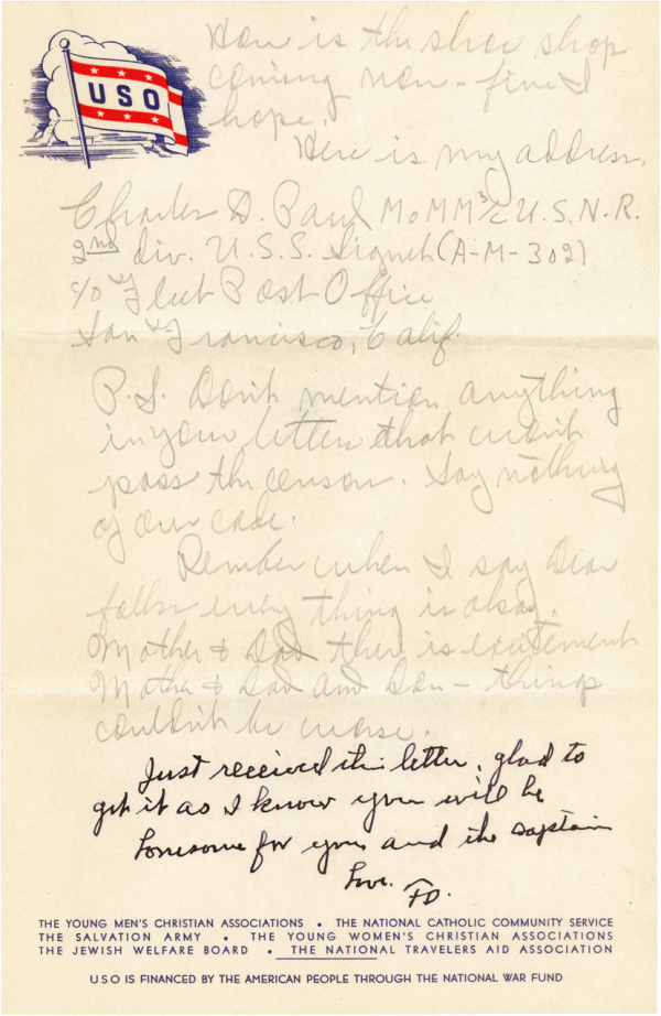 Letter home, page 3; June 29, 1944