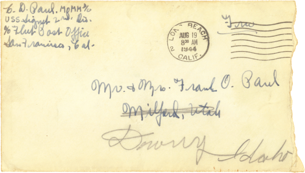 Letter home, envelope (front); August 18, 1944