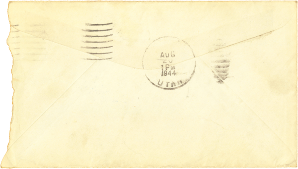Letter home, envelope (back); August 18, 1944