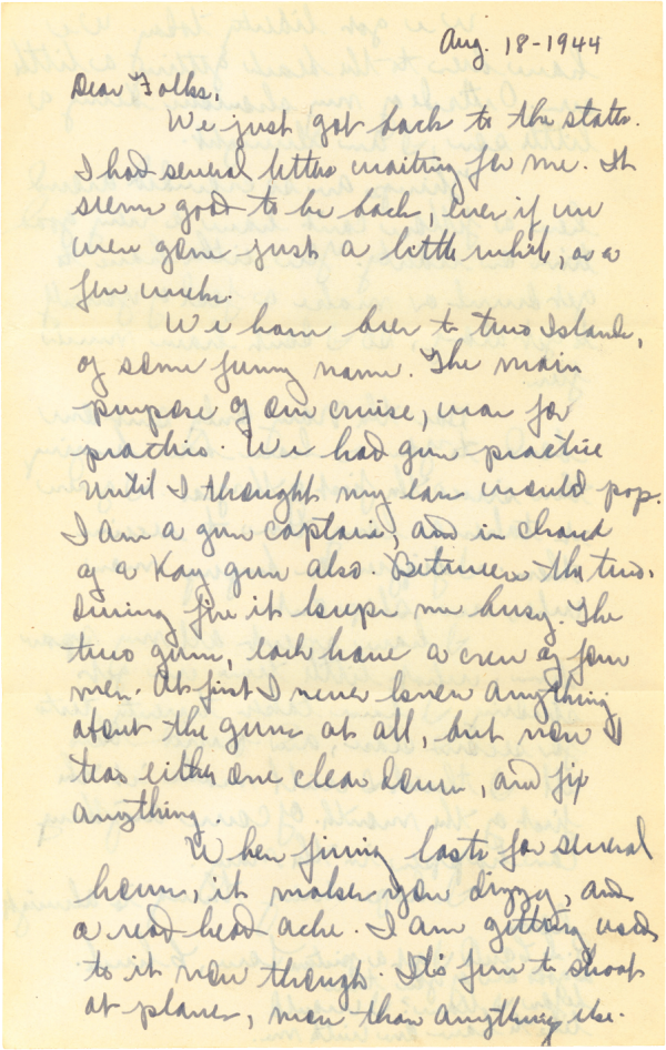 Letter home, page 1; August 18, 1944