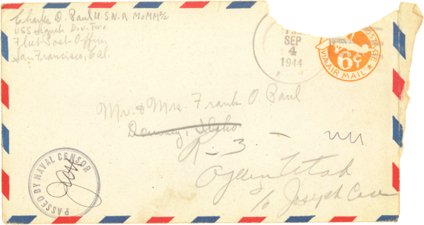 Letter home, envelope (front); September 3, 1944