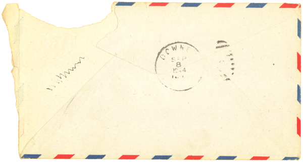 Letter home, envelope (back); September 3, 1944