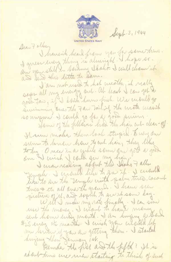 Letter home (page 1); September 3, 1944
