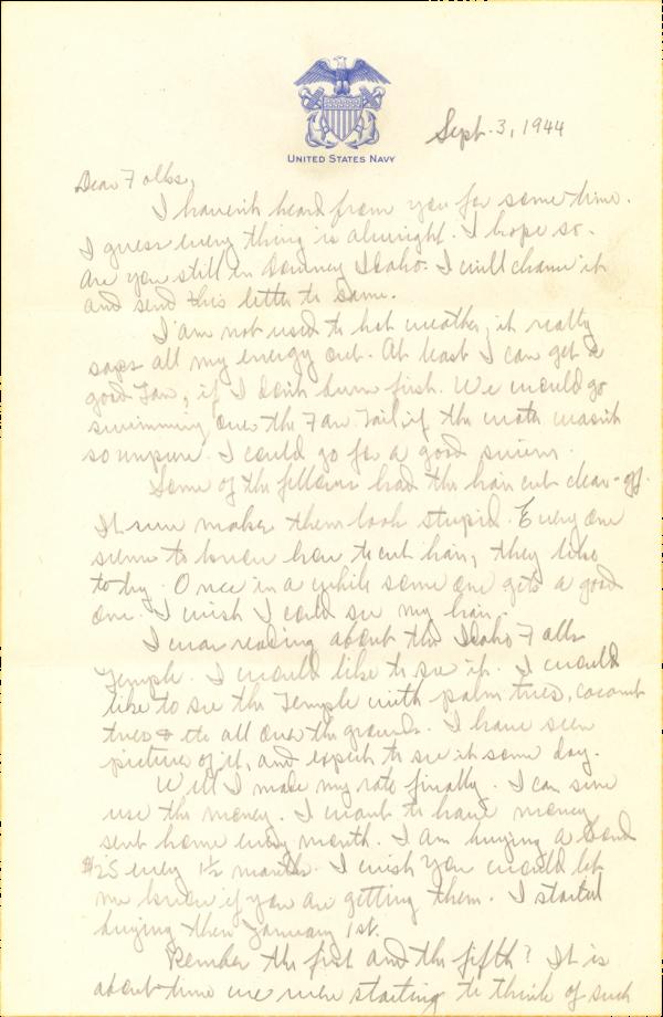 Letter home (page 1); September 3, 1944