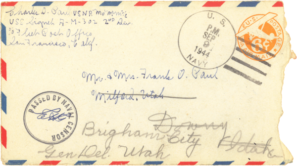 Envelope (front); September 8, 1944