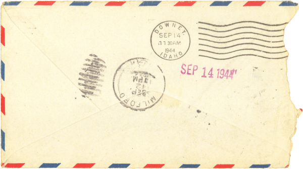 Envelope (back); September 8, 1944