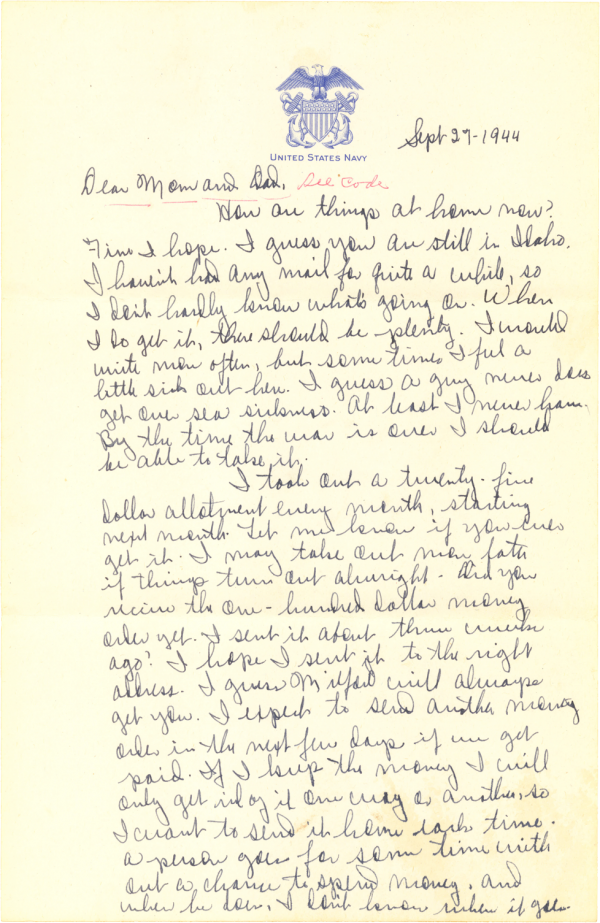 Letter home (page 1); September 27, 1944