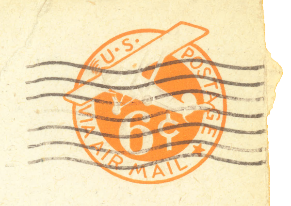 6 cents; Air Mail (imprinted on envelope)