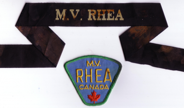 M.V. Rhea cap tally (band) and shoulder flash (patch); 1970s