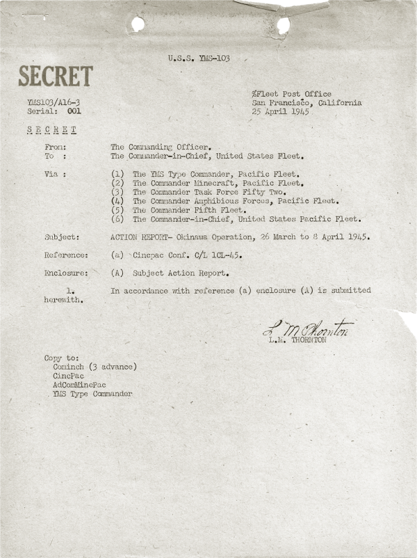 YMS-103 Action Report; April 25, 1945; Table of Contents