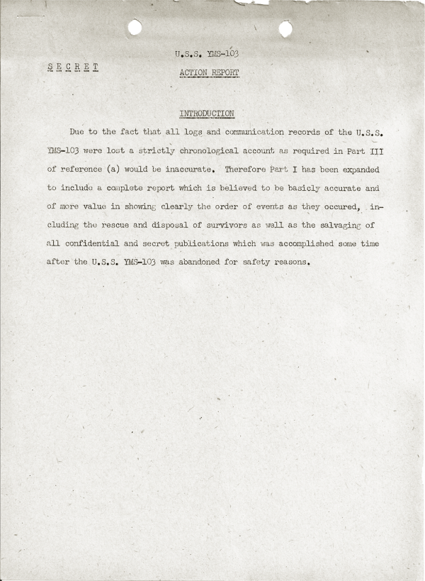 YMS-103 Action Report; April 25, 1945; Introduction