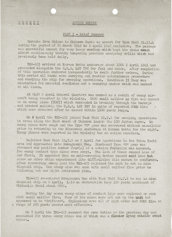 YMS-103 Action Report; April 25, 1945; Part I
