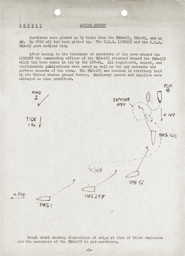 YMS-103 Action Report; April 25, 1945; Part I (continued)