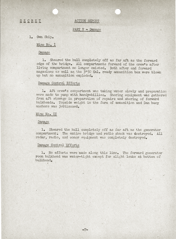 YMS-103 Action Report; April 25, 1945; Part V