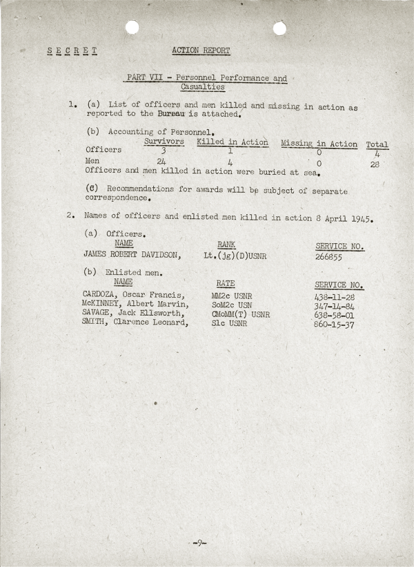 YMS-103 Action Report; April 25, 1945; Part VII