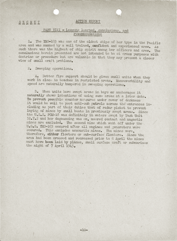 YMS-103 Action Report; April 25, 1945; Part VIII