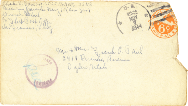 Envelope (front); November 6, 1944