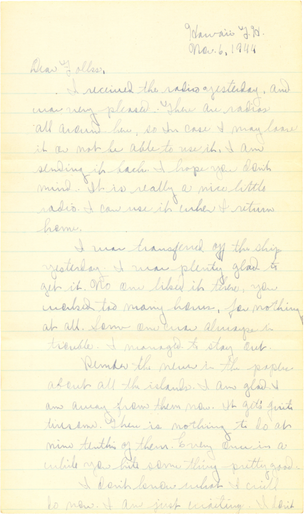 Letter home (page 1); November 6, 1944