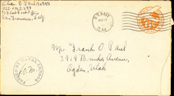 Envelope (front); November 12, 1944