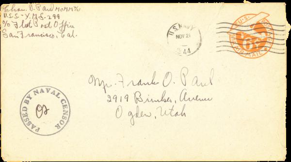 Envelope (front); November 19, 1944