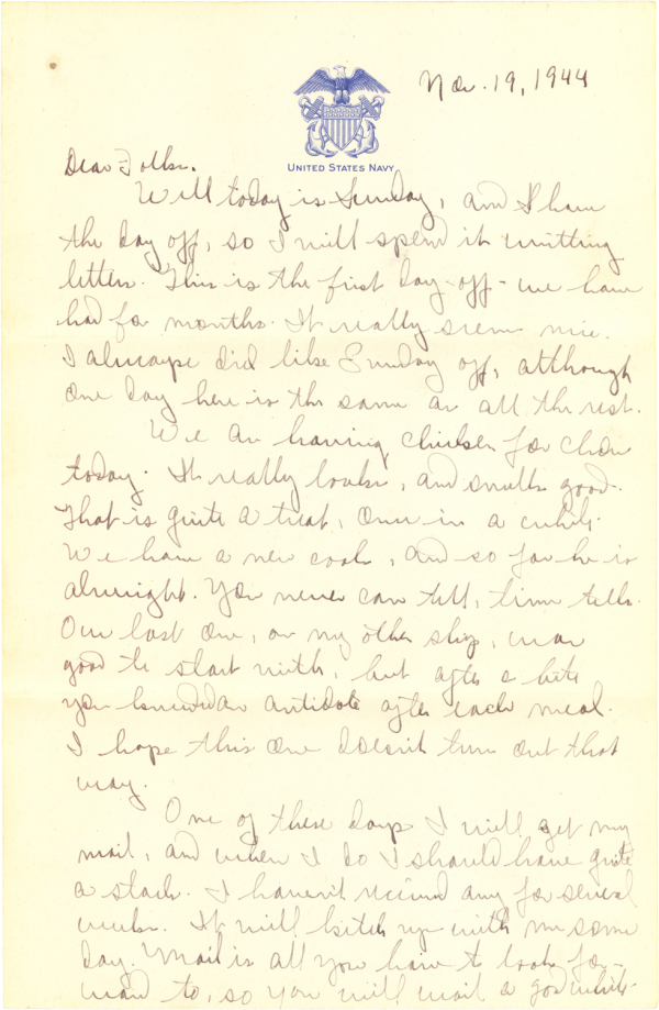 Letter home (page 1); November 19, 1944
