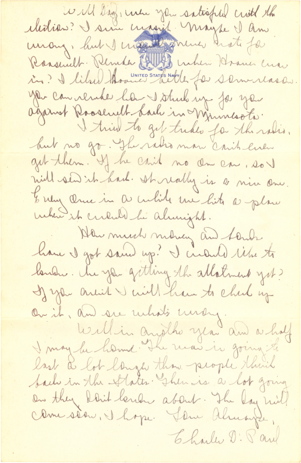 Letter home (page 2); November 19, 1944