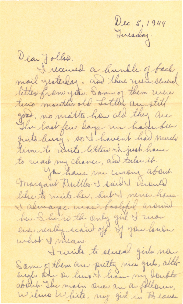 Letter home (page 1); December 5, 1944