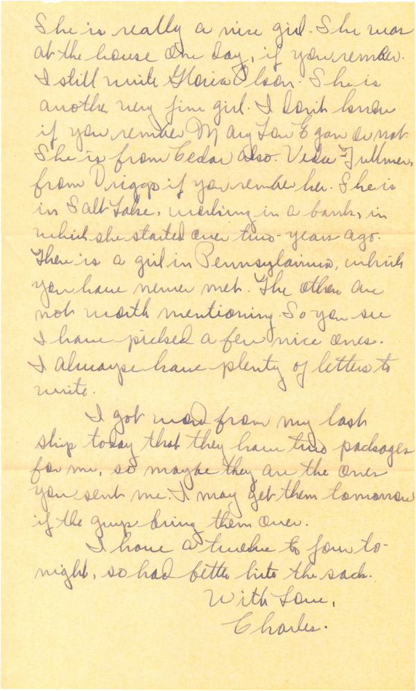 Letter home (page 2); December 5, 1944
