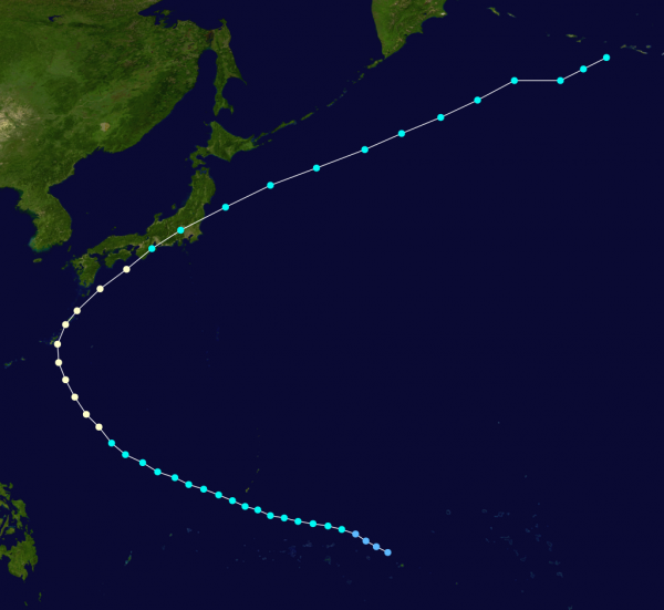 Typhoon Ida track, October 1945
