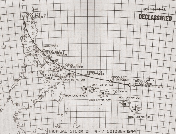 Tropical Storm of 14 to 17 October, 1944 in Leyte Gulf, ahead of invasion on 20th