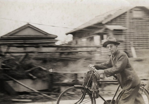 Fukuoka man on bicycle; October 1945