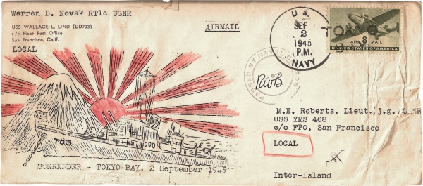 Japan surrenders; envelope front; September 2, 1945