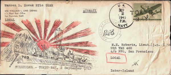 Japan surrenders; envelope front; September 2, 1945
