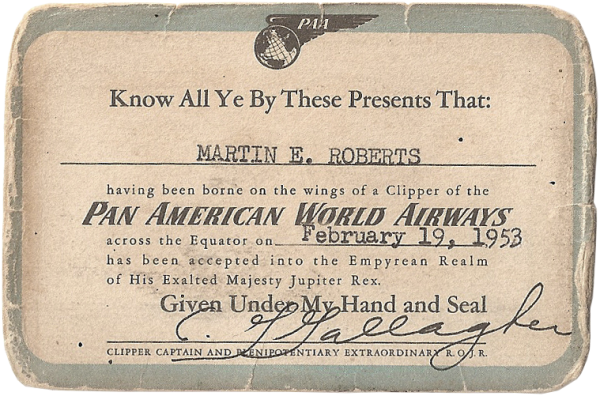 Marty Roberts; Pan Am travel card (back); February 19, 1953