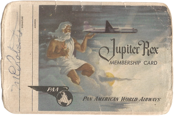 Marty Roberts; Pan Am travel card (front); February 19, 1953