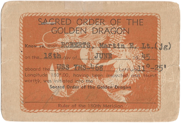 Sacred order of the Golden Dragon card bestowed for crossing date/time line; June 18, 1945