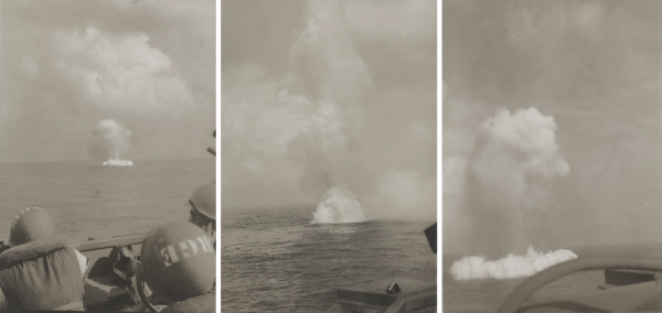 Mine disposal off Okinawa; July 1945
